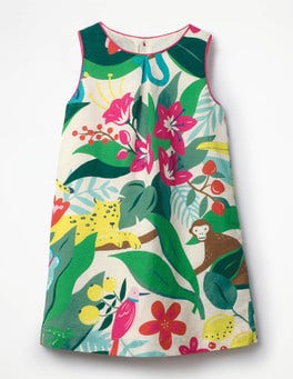 Ecru Jungle Jumble Printed Shift Dress