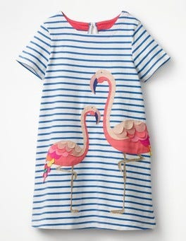Skipper/Ivory Stripe Flamingos Animal Appliqué Dress
