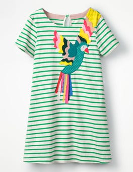 Peppermint Green Stripe Parrot Animal Appliqué Dress