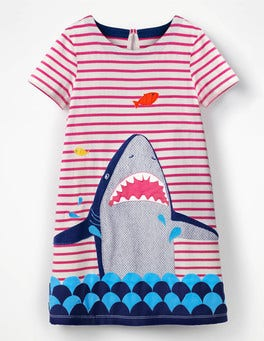 Mid Pink Stripe Shark Animal Appliqué Dress