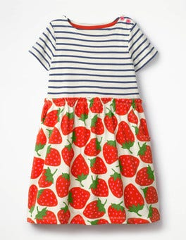 Ecru Sweet Strawberries Bright Hotchpotch Jersey Dress