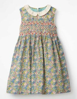 Camper Blue Vintage Floral Nostalgic Smock Dress