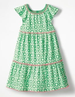 Peppermint Green Retro Tile Tiered Jersey Frill Dress