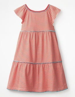 Melon Crush Orange/Ivory Tiered Jersey Frill Dress