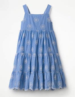 Penzance Blue/Ivory Twirly Tiered Dress