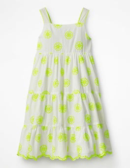 Ivory/Yellow Twirly Tiered Dress