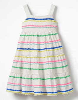 Neon Rainbow Multistripe Twirly Tiered Dress