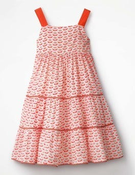 Melon Crush Orange Twirly Tiered Dress