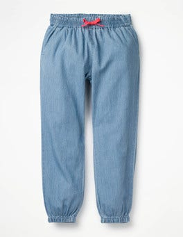 Light Chambray Relaxed Woven Trousers