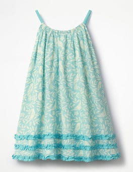 Camper Blue Lino Birds Woven Vacation Dress