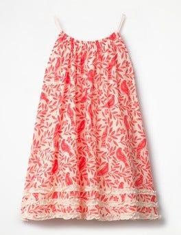 Fluoro Coral Lino Birds Woven Vacation Dress