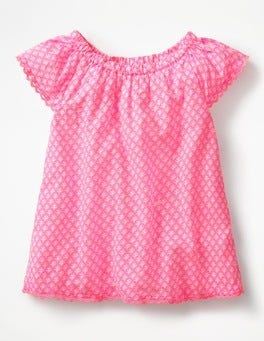 Knockout Pink/Ivory Geo Coral Lace Trim Floaty Top