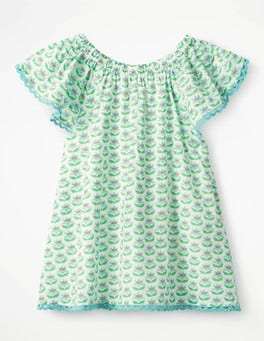 Peppermint Green Lotus Flower Lace Trim Floaty Top
