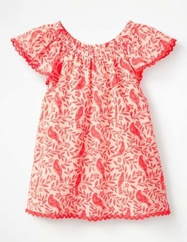 Fluoro Coral Lino Birds Lace Trim Floaty Top