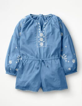 Penzance Blue Embroidered Woven Romper