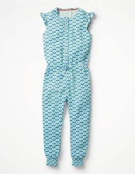Camper Blue Lotus Flower Frilly Sleeved Jumpsuit