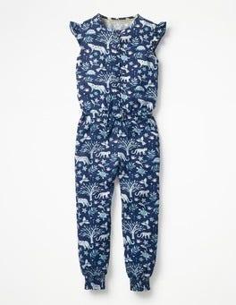 Starboard Blue Island Batik Frilly Sleeved Jumpsuit