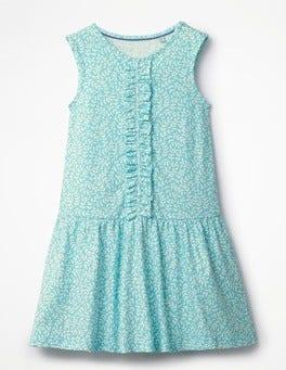 Camper Blue Vine Jersey Ruffle Dress