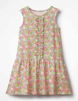 Knockout Pink Vintage Floral Jersey Ruffle Dress