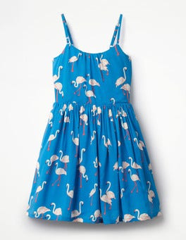 Blue Flamingos Strappy Woven Dress