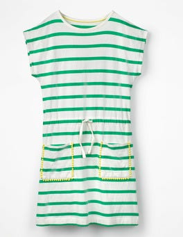 Ivory/Peppermint Green Stripe Tie-waist Jersey Dress