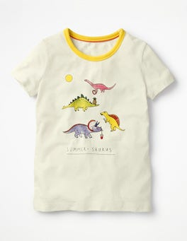Ivory/Dinosaurs Fun Detail T-shirt