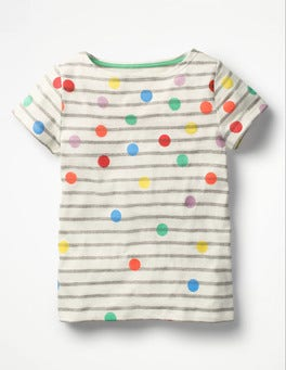 Ivory and Grey Marl Spot Fun Breton T-shirt