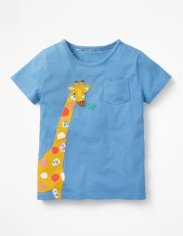 Penzance Blue Giraffe Big Appliqué T-shirt