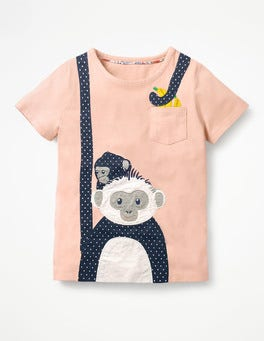 Provence Dusty Pink Monkeys Big Appliqué T-shirt
