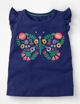 Starboard Blue Butterfly Flutter Sleeve T-shirt