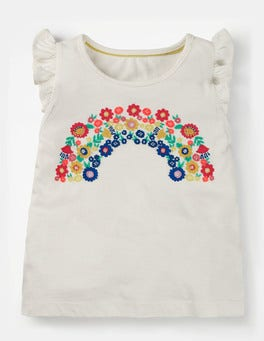 Ivory Rainbow Flutter Sleeve T-shirt