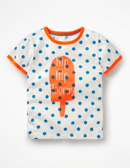 Ivory/Fluoro Blue Spot Lolly Bright Print T-shirt