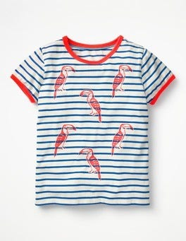 Ivory/Orion Blue Parrots Bright Print T-shirt
