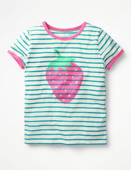 Ivory/Green Strawberry Bright Print T-shirt