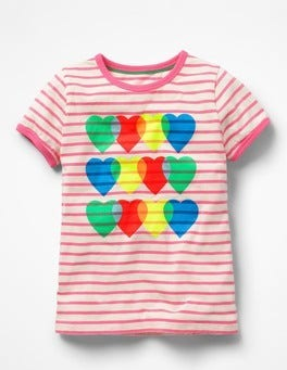 Ivory/Knockout Pink Hearts Bright Print T-shirt