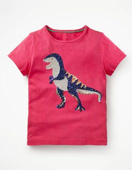 Strawberry Split Pink T-Rex Sequin Appliqué T-shirt