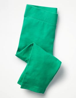 Deep Green Plain Cropped Leggings