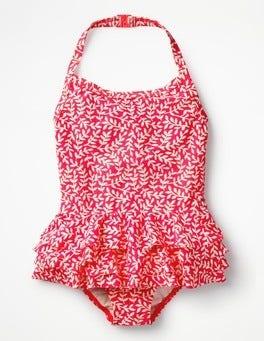 Fluoro Pink Vine Ruffly Swimsuit