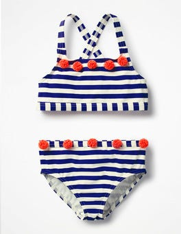 Dazzling Blue/Ivory Flowery Bikini Set