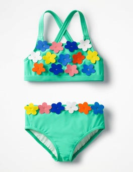 Light Green Flowery Bikini Set