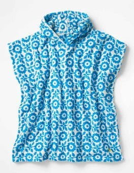 Blue & Ecru Retro Tile Towelling Poncho