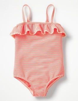 Neon-Grapefruit/Orange/Naturweiß Badeanzug mit Rüschendetail