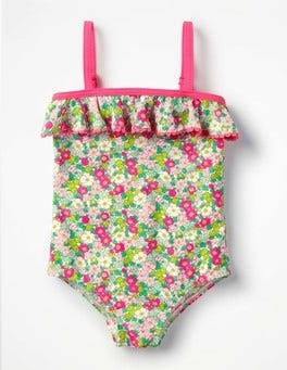 Knockout Pink Vintage Floral Frill Detail Swimsuit
