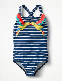 Deep Sea/Ivory Parakeets Tropical Birds Swimsuit