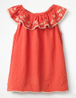 Melon Crush Orange Frill Embroidered Yoke Top