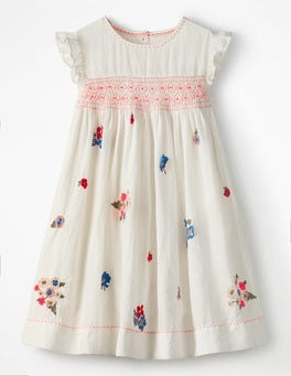 Multi Vintage Posy Embroidered Posy Smock Dress
