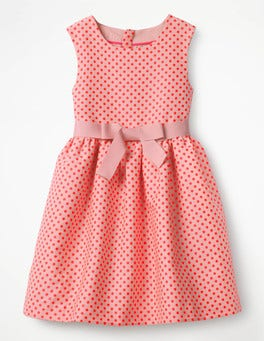 Bright Flamingo Pink Spot Jacquard Spot Dress