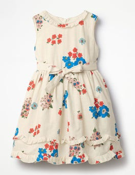 Multi Vintage Posy Posy Ruffle Hem Dress