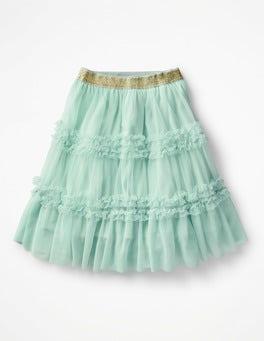 Azure Mist Blue Ruffle Tulle Skirt