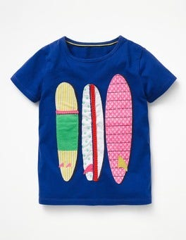 Orion Blue Surf Boards Wild Appliqué T-shirt